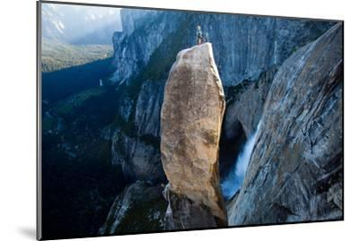 A Climber on Top of the Lost Arrow Spire in Yosemite National Park, and His Partner Far Below-Ben Horton-Mounted Photographic Print
