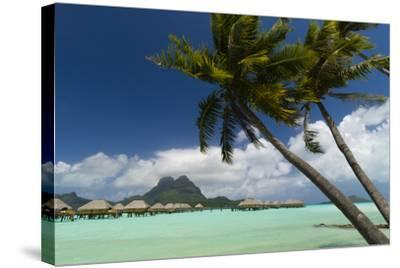 Over-The-Water Bungalows at a Tropical Resort with Clear Turquoise Water and Wind-Blown Palms-Sergio Pitamitz-Stretched Canvas Print