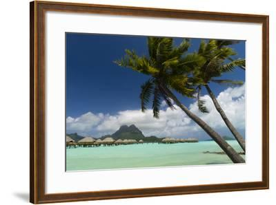 Over-The-Water Bungalows at a Tropical Resort with Clear Turquoise Water and Wind-Blown Palms-Sergio Pitamitz-Framed Photographic Print