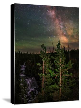 The Summer Milky Way and Green Air Glow in a Dark Starry Sky over Yellowstone National Park-Babak Tafreshi-Stretched Canvas Print