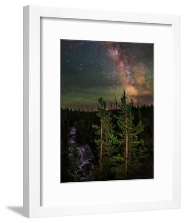 The Summer Milky Way and Green Air Glow in a Dark Starry Sky over Yellowstone National Park-Babak Tafreshi-Framed Photographic Print