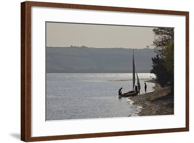 Launching a Sailing Dinghy at Mylor, on Carrick Roads, the Estuary of the River Fal, Near Falmouth-Nigel Hicks-Framed Photographic Print