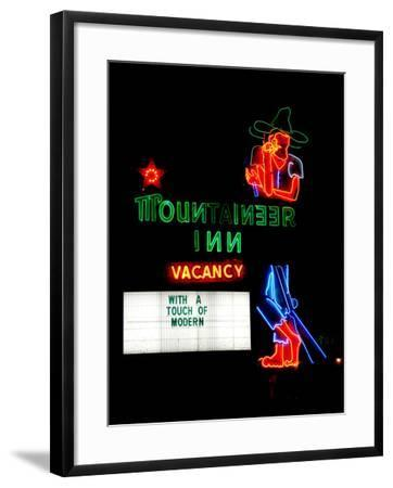 A Stereotypical Mountain Man Graces the Neon Sign of a Local Landmark-Amy and Al White and Petteway-Framed Photographic Print