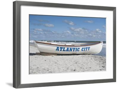 A Rowboat Sits on the Beach in Atlantic City, New Jersey-Jeff Mauritzen-Framed Photographic Print