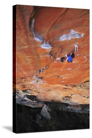 Looking Down Upon a Rock Climber in Grampians National Park, Australia-Keith Ladzinski-Stretched Canvas Print