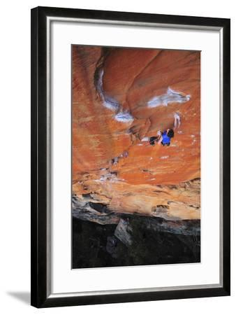 Looking Down Upon a Rock Climber in Grampians National Park, Australia-Keith Ladzinski-Framed Photographic Print