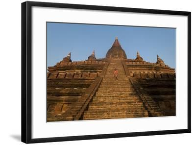 Sitting on the Steps of One of the Ancient Temples at Bagan-Alex Treadway-Framed Photographic Print