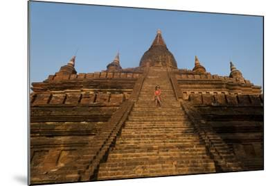 Sitting on the Steps of One of the Ancient Temples at Bagan-Alex Treadway-Mounted Photographic Print