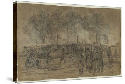 Union Soldiers Bury their Comrades and Burn their Horses after the Battle of Fair Oaks- Library Of Congress-Stretched Canvas Print