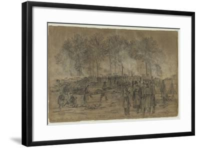 Union Soldiers Bury their Comrades and Burn their Horses after the Battle of Fair Oaks- Library Of Congress-Framed Photographic Print