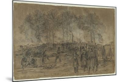Union Soldiers Bury their Comrades and Burn their Horses after the Battle of Fair Oaks- Library Of Congress-Mounted Photographic Print