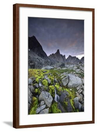 A Mountain Stream Coursing Through Moss-Covered Boulders-Keith Ladzinski-Framed Photographic Print