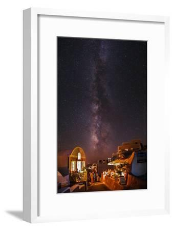The Milky Way from Scorpius and Sagittarius, to Cygnus at Top, over Candle-Lit Restaurants-Babak Tafreshi-Framed Photographic Print