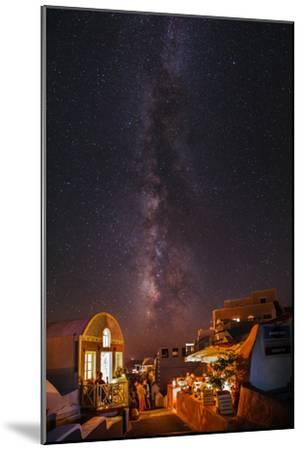 The Milky Way from Scorpius and Sagittarius, to Cygnus at Top, over Candle-Lit Restaurants-Babak Tafreshi-Mounted Photographic Print