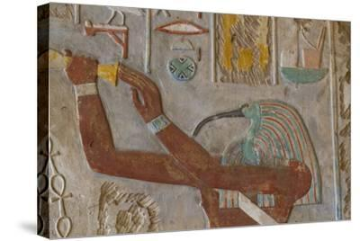 The God Thoth in a Relief Portrait at the Temple of Karnak-Michael Melford-Stretched Canvas Print