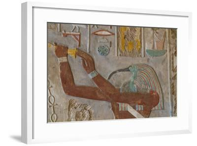 The God Thoth in a Relief Portrait at the Temple of Karnak-Michael Melford-Framed Photographic Print