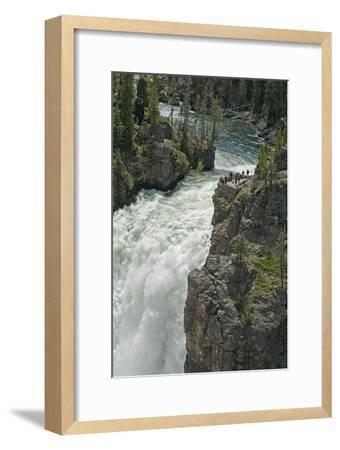 Tourists Watch Yellowstone River Plunge over Upper Yellowstone Falls-Gordon Wiltsie-Framed Photographic Print
