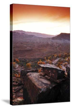 A Rock Covered in Petroglyphs in a Desert Landscape at Sunset-Keith Ladzinski-Stretched Canvas Print