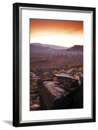 A Rock Covered in Petroglyphs in a Desert Landscape at Sunset-Keith Ladzinski-Framed Photographic Print