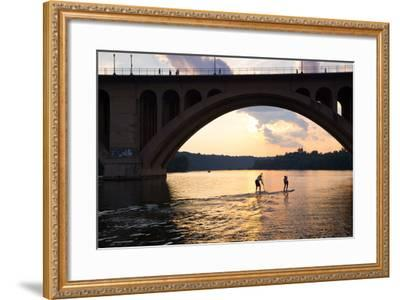 Paddleboarders Glide on the Potomac River under the Key Bridge in Georgetown-Skip Brown-Framed Photographic Print