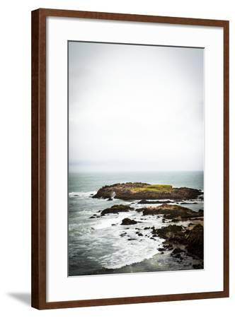 Rain over the Pacific Ocean and Rocky Outcrops on the Big Sur Coast-Keith Barraclough-Framed Photographic Print
