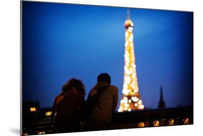 A Couple Watch the Eiffel Toer Glitter at Night in Paris, France-Chris Bickford-Mounted Photographic Print