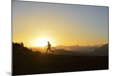 A Silhouetted Man Running Near the Verdon Gorge at Twilight-Keith Ladzinski-Mounted Photographic Print