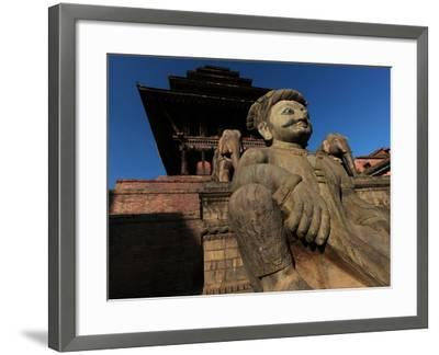 Statue of a Wrestler and Elephants, at the Nyatapola Temple, Built in 1702-Babak Tafreshi-Framed Photographic Print