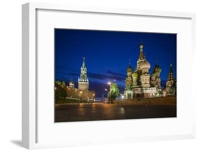Spasskaya Tower, also Called Savior's Tower, and Saint Basil's Cathedral at Night-Kent Kobersteen-Framed Photographic Print