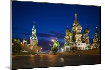Spasskaya Tower, also Called Savior's Tower, and Saint Basil's Cathedral at Night-Kent Kobersteen-Mounted Photographic Print