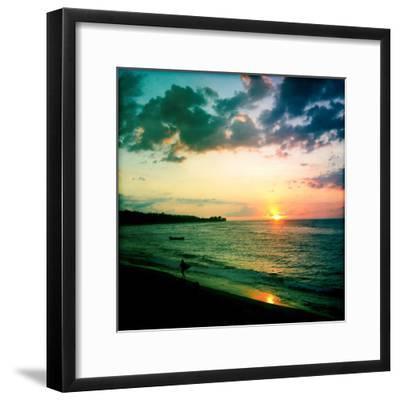 A Surfer Heading Home at Sunset on Shacks Beach Near Aquadilla, Puerto Rico-Skip Brown-Framed Photographic Print