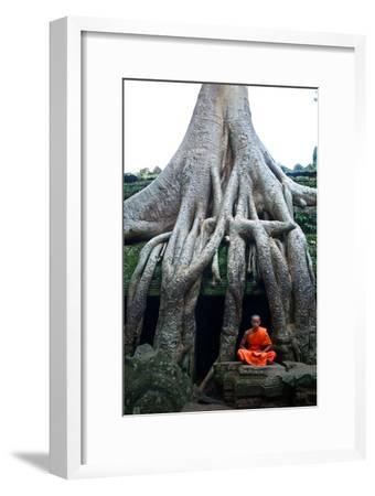 A Theraveda Buddhist Monk at the Ta Prohm Temple in the Angkor Complex-Kike Calvo-Framed Premium Photographic Print