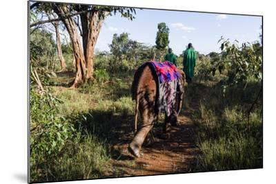 An Orphaned African Elephant with a Sleeping Blanket Follows a Carer Through the Forest-Jason Edwards-Mounted Photographic Print