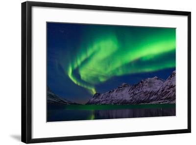 The Aurora Borealis over Water and Mountains-Babak Tafreshi-Framed Photographic Print