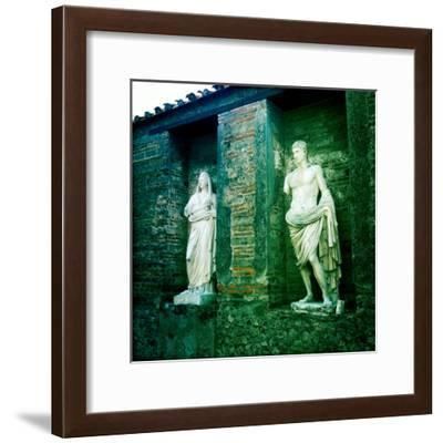Roman Statues in the Ruins of Pompeii, Italy-Skip Brown-Framed Photographic Print