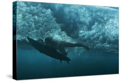 Underwater View of a Surfer in Waipi'O Bay-Chris Bickford-Stretched Canvas Print