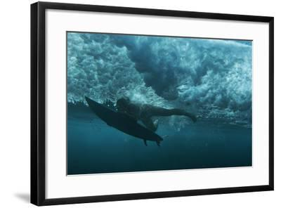 Underwater View of a Surfer in Waipi'O Bay-Chris Bickford-Framed Photographic Print
