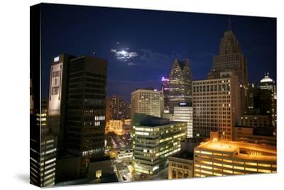 Downtown Detroit's Skyscrapers Touch the Night Sky-Melissa Farlow-Stretched Canvas Print