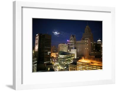 Downtown Detroit's Skyscrapers Touch the Night Sky-Melissa Farlow-Framed Premium Photographic Print