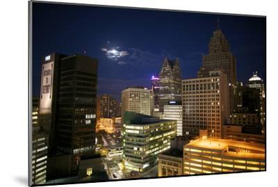 Downtown Detroit's Skyscrapers Touch the Night Sky-Melissa Farlow-Mounted Premium Photographic Print
