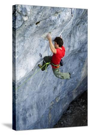 Looking Down Upon a Man Rock Climbing-Keith Ladzinski-Stretched Canvas Print