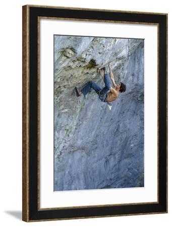 Looking Down Upon a Man Rock Climbing-Keith Ladzinski-Framed Photographic Print