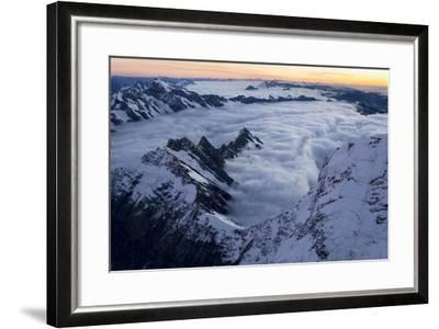 Mount Cook, Tasman Glacier and Fox Glacier at Sunset-Michael Melford-Framed Photographic Print