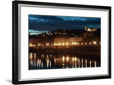 A Bridge and Reflections in the Arno River at Dawn-Joe Petersburger-Framed Photographic Print