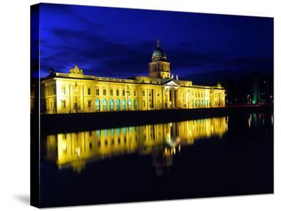 Customs House in Dublin Lit Up at Night-Chris Hill-Stretched Canvas Print
