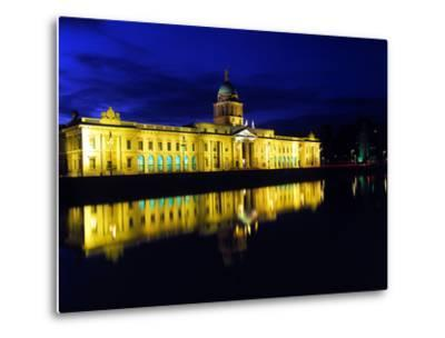 Customs House in Dublin Lit Up at Night-Chris Hill-Metal Print