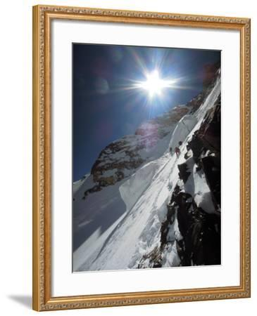 Expedition Members Approach the Japanese Couloir-Darius Zaluski-Framed Photographic Print