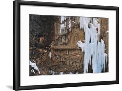 A Man Ice-Climbing-Keith Ladzinski-Framed Photographic Print
