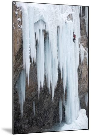 A Man Ice-Climbing-Keith Ladzinski-Mounted Photographic Print