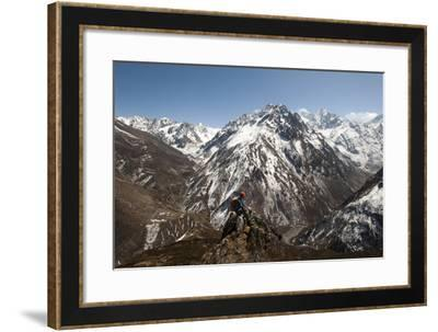 A Trekker Looks Out at the View of Ganesh Himal Mountains in Nepal-Alex Treadway-Framed Photographic Print